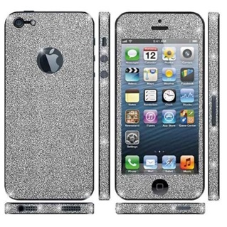 Glitter Sticker voor Apple iPhone 5/ 5s/SE - Zilver Duo Pack/2 stuks