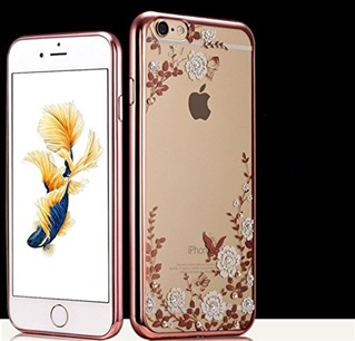 Transparant Hoesje met witte bloemetjes Apple iPhone 6/ 6s - Back Cover - TPU - Rose Rand